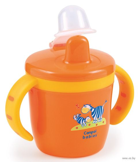 Чашка-поилка с пластиковой крышкой для носика