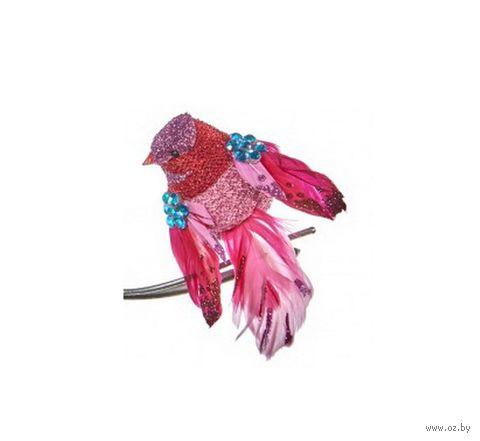 """Ёлочная игрушка на клипсе """"Пёстрая птица"""" (красная) — фото, картинка"""