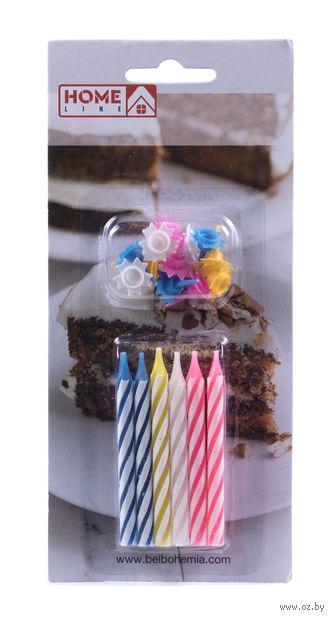 Набор свечей для торта с держателями (12 шт.; арт. BC-7)