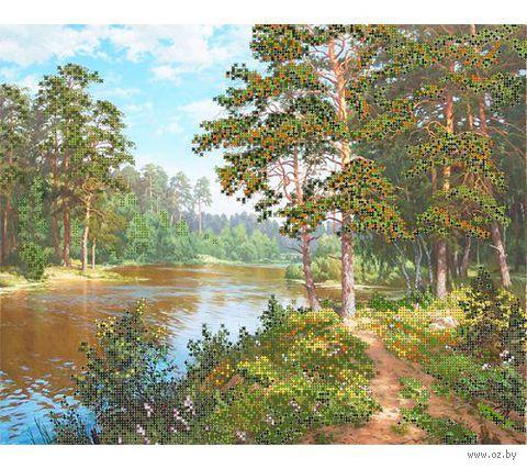 """Канва с нанесенным рисунком """"Река в лесу"""""""