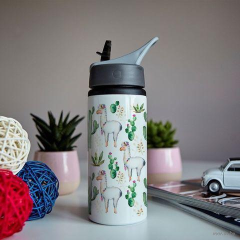 """Бутылка для воды """"Ламы и кактусы"""" (600 мл) — фото, картинка"""