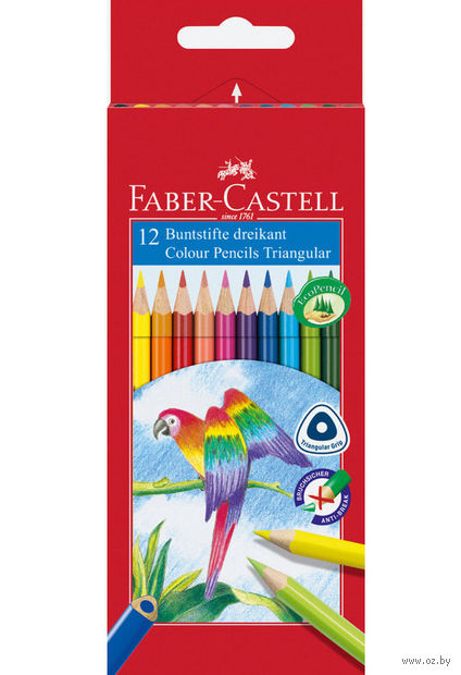 """Цветные карандаши """"Faber-Castell"""" треугольные (12 штук)"""