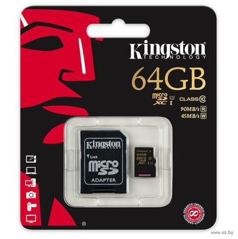 Карта памяти micro SDXC 64Gb KINGSTON Class 10 UHS-I U1 R/W 90/45 MB/s с адаптером (SDCA10/64GB)