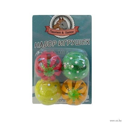 """Набор игрушек для кота пластмассовых """"Шарики"""" (4 шт.; 3,5 см; арт. YT71869)"""