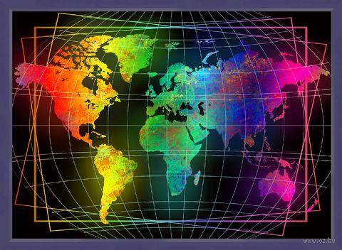 """Алмазная вышивка-мозаика """"Карта мира"""" (500х700 мм) — фото, картинка"""
