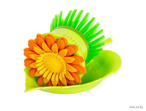 """Щетка для мытья посуды пластмассовая на подставке """"Цветок"""" (8 см; арт. JC1116A)"""