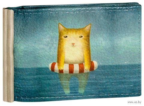 """Зажим для денег с монетницей """"Котик в море"""""""