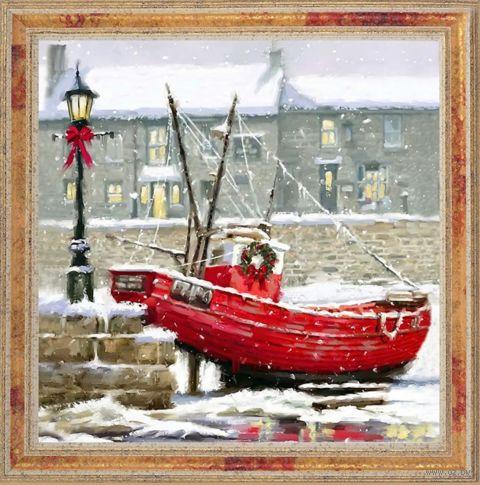 """Вышивка пайетками """"Лодка"""" (300х300 мм) — фото, картинка"""