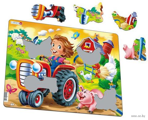 "Пазл-рамка ""Дети на ферме. Трактор"" (15 элементов) — фото, картинка"