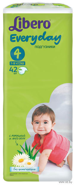 "Подгузники для детей ""Libero Every day Maxi 4"" (7-18 кг, 42 шт)"