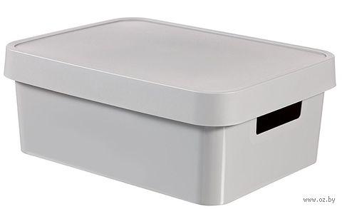 Ящик для хранения с крышкой (11 л; серый)