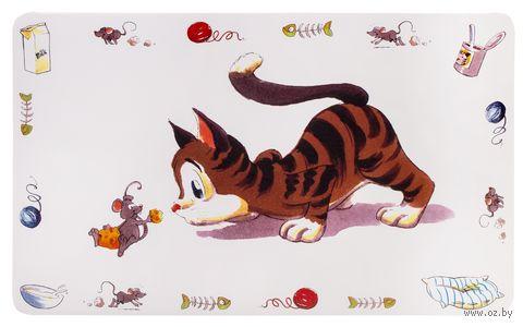 "Коврик под миску ""Comic Cat"" (44х28 см) — фото, картинка"