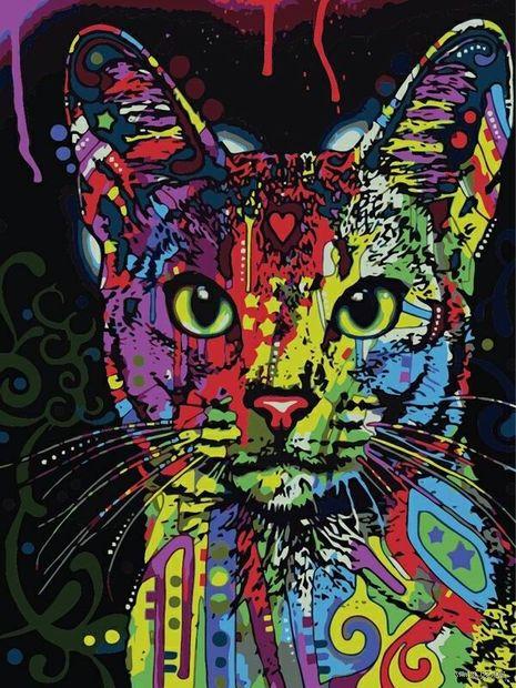 "Картина по номерам ""Кошачий взгляд"" (400х500 мм) — фото, картинка"