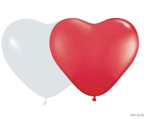 Шары латексные в форме сердца 30 см (10 шт., ассорти)