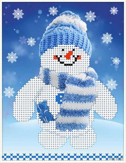 """Вышивка бисером """"Снеговик"""" (120х160 мм) — фото, картинка"""
