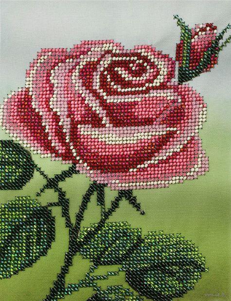 """Вышивка бисером """"Розовая роза"""" (140х185 мм) — фото, картинка"""