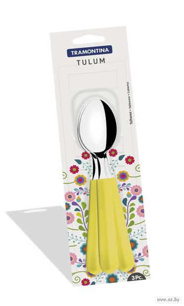 """Ложка столовая металлическая """"Tulum"""" (3 шт.; желтая) — фото, картинка"""