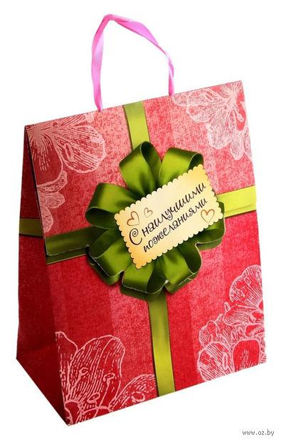 """Пакет бумажный подарочный """"С наилучшими пожеланиями"""" (18х23х10 см; арт. 10367432)"""