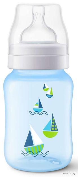 """Бутылочка для кормления """"Classic+ Кораблик"""" (260 мл; голубая)"""