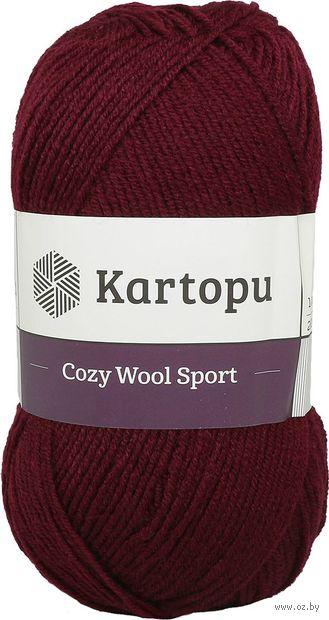 "Пряжа ""KARTOPU. Cozy Wool Sport №K110"" (100 г; 280 м; бордовый) — фото, картинка"