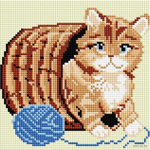 """Алмазная вышивка-мозаика """"Котёнок с клубком"""" (200х200 мм) — фото, картинка"""