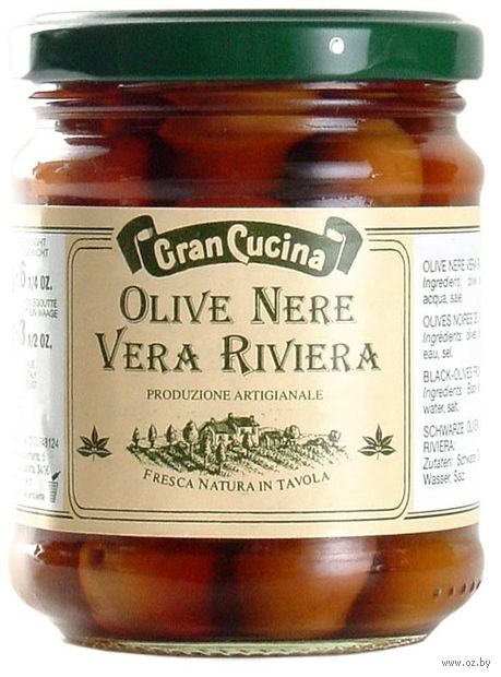 "Оливки ""Gran Cucina. Vera Riviera. С косточкой"" (190 г) — фото, картинка"