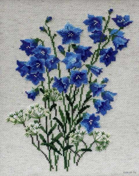 """Вышивка крестом """"Синие колокольчики на льне"""" (арт. 1045)"""