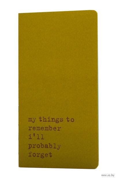 "Записная книжка в точку ""Chapter. My Things to Remember"" (95х180 мм; зеленая) — фото, картинка"
