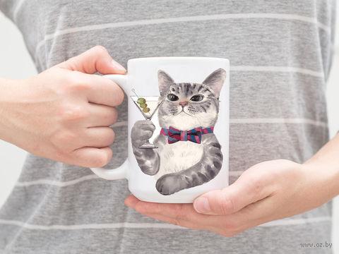 """Кружка """"Кот с мартини"""" (арт. 985) — фото, картинка"""