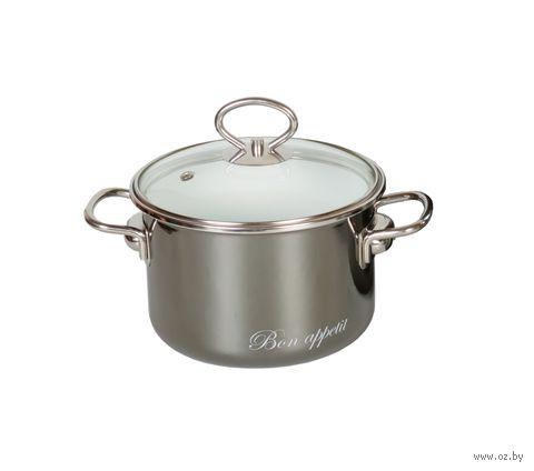 """Кастрюля стальная эмалированная 5 л """"Bon Appetit"""" (мокрый асфальт) — фото, картинка"""