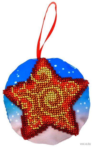 """Вышивка бисером """"Новогодняя игрушка. Звёздочка"""" (85х85 мм) — фото, картинка"""