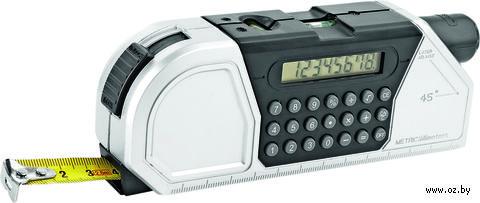 Мультиинструмент (рулетка на 2,5 м. с фиксатором, линейка, уровень, калькулятор, градуированный проектор для разметки линий) — фото, картинка