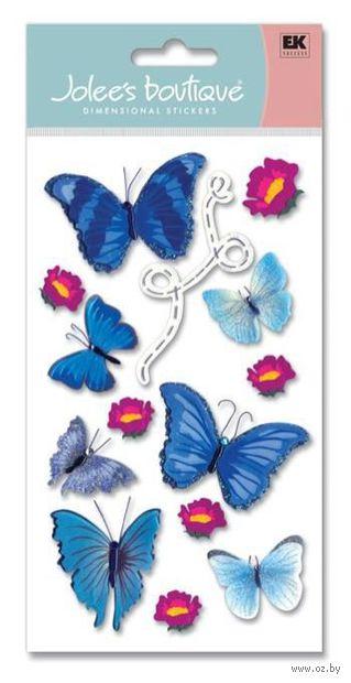 """Стикеры для скрапбукинга """"Джоли бутик. Голубые бабочки"""" (арт. EKS-SPJBLG191)"""