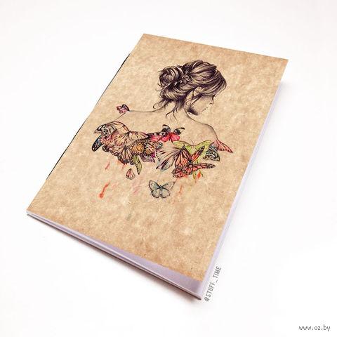 """Блокнот крафт """"Девушка с бабочками"""" (А5; арт. 717) — фото, картинка"""