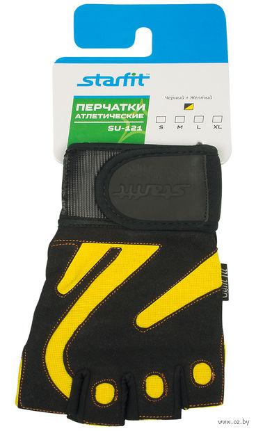 Перчатки атлетические SU-121 (S; чёрно-жёлтые) — фото, картинка