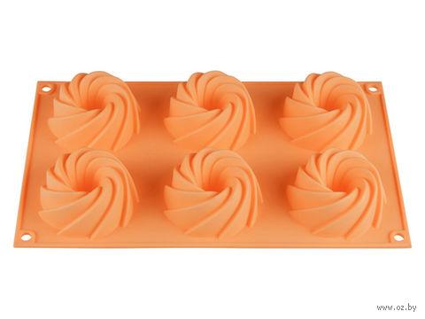 Форма силиконовая для выпекания кексов (292x173x35 мм; персиковая) — фото, картинка