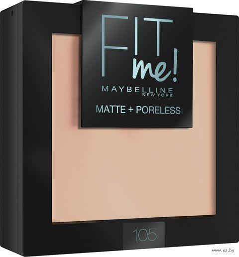 "Компактная пудра для лица ""Fit Me!"" (тон: 105, натурально-бежевый) — фото, картинка"