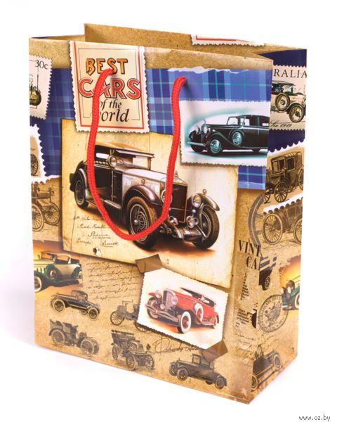 """Пакет бумажный подарочный """"Автомобили"""" (18х23х8 см) — фото, картинка"""