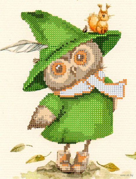 """Алмазная вышивка-мозаика """"Сова в зелёном"""" (250х190 мм) — фото, картинка"""