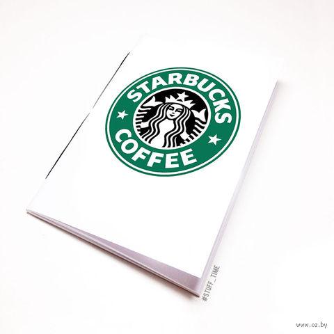 """Блокнот белый """"Старбакс кофе"""" А6 (504)"""