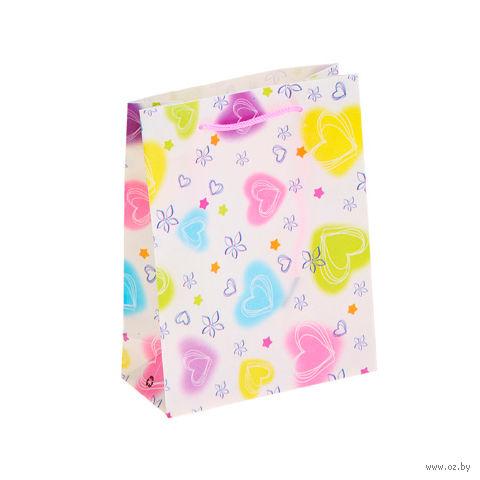 """Пакет пластиковый подарочный """"Сердца"""" (39х31х9 см; арт. 10538379)"""