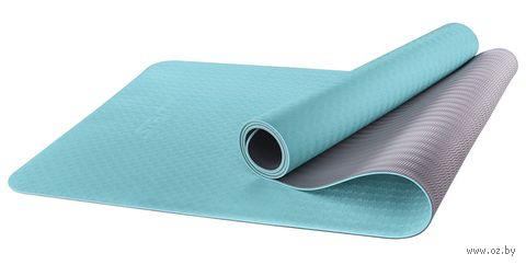 Коврик для йоги FM-201 (173x61x0,6 см; мятный/серый) — фото, картинка