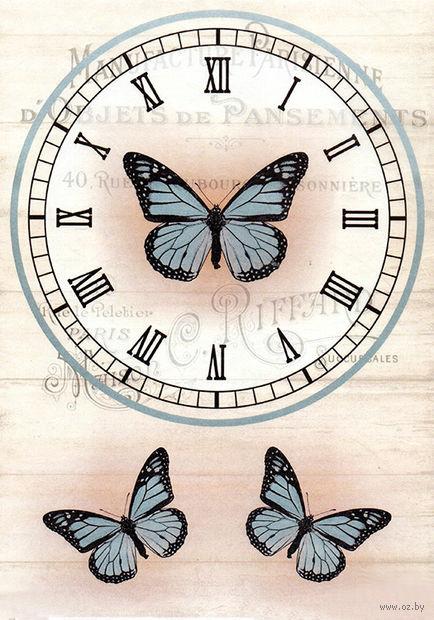 """Бумага для декупажа рисовая """"Циферблат с бабочкой"""" (21х30 см) — фото, картинка"""