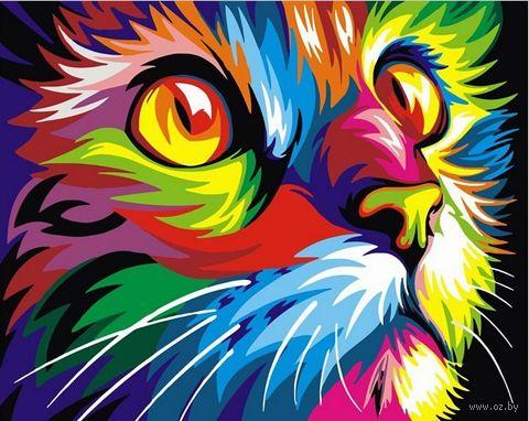 "Картина по номерам ""Радужный кот"" (400х500 мм) — фото, картинка"