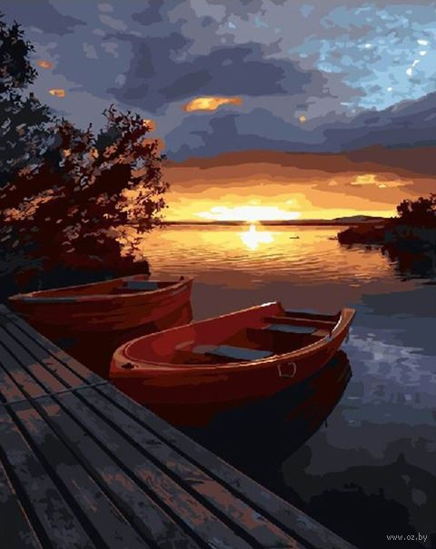 "Картина по номерам ""Закат над водной гладью"" (400х500 мм) — фото, картинка"