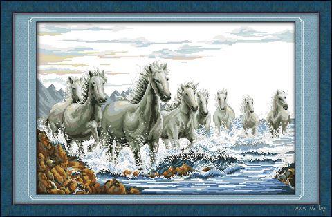 "Вышивка крестом ""Табун лошадей"" (365x550 мм) — фото, картинка"