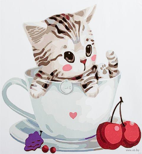 "Картина по номерам ""Полосатый котёнок в чашке"" (300х300 мм) — фото, картинка"