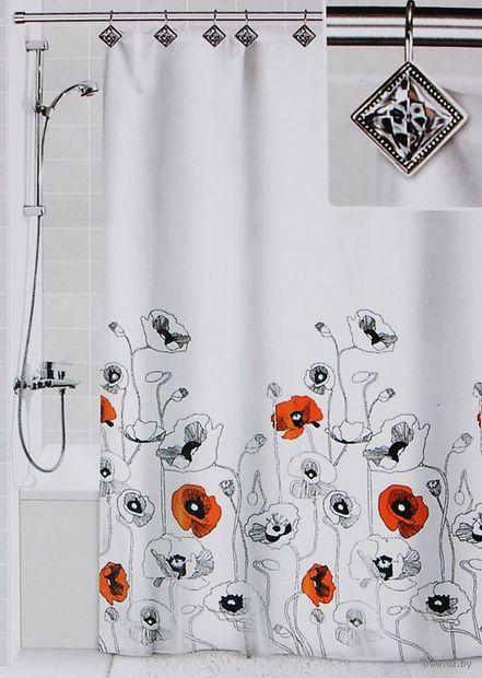 """Шторка для ванной """"Маки"""" (180х180 см; 12 крючков) — фото, картинка"""