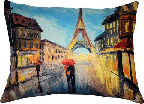 """Подушка """"Париж"""" (45x35 см; синяя; арт. 08-569) — фото, картинка"""