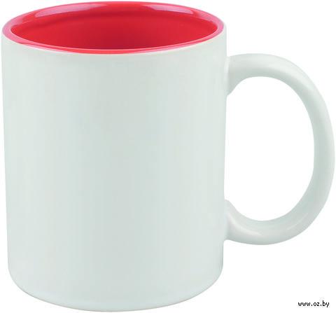 Кружка керамическая (320 мл; белый/красный)
